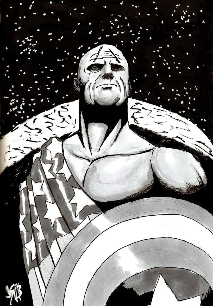 Inktober Day Eleven: Earth X Captain America by monkeygeek