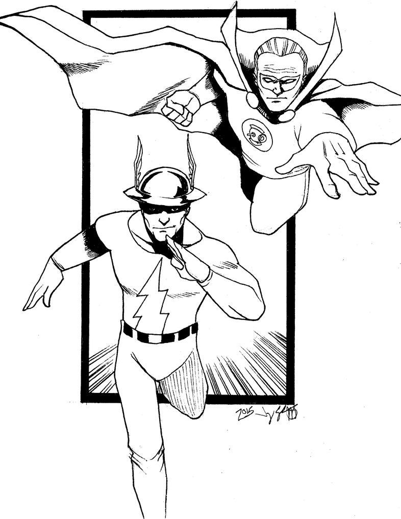 Inktober Day Twenty-Seven Green Lantern and Flash by monkeygeek