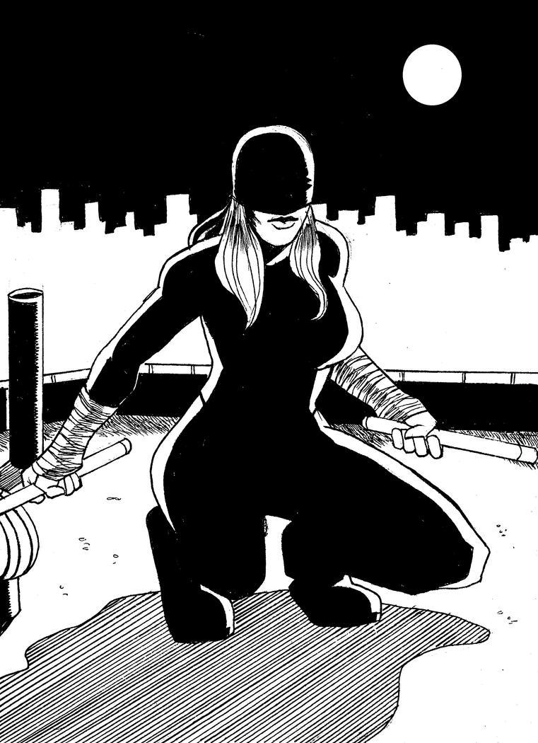 Inktober Day Twenty-Eight: Female Daredevil by monkeygeek