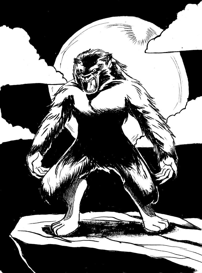 Inktober Day Thirty-One: Werewolf by monkeygeek