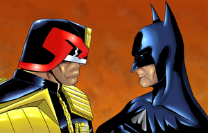 Batman vs Dredd by monkeygeek