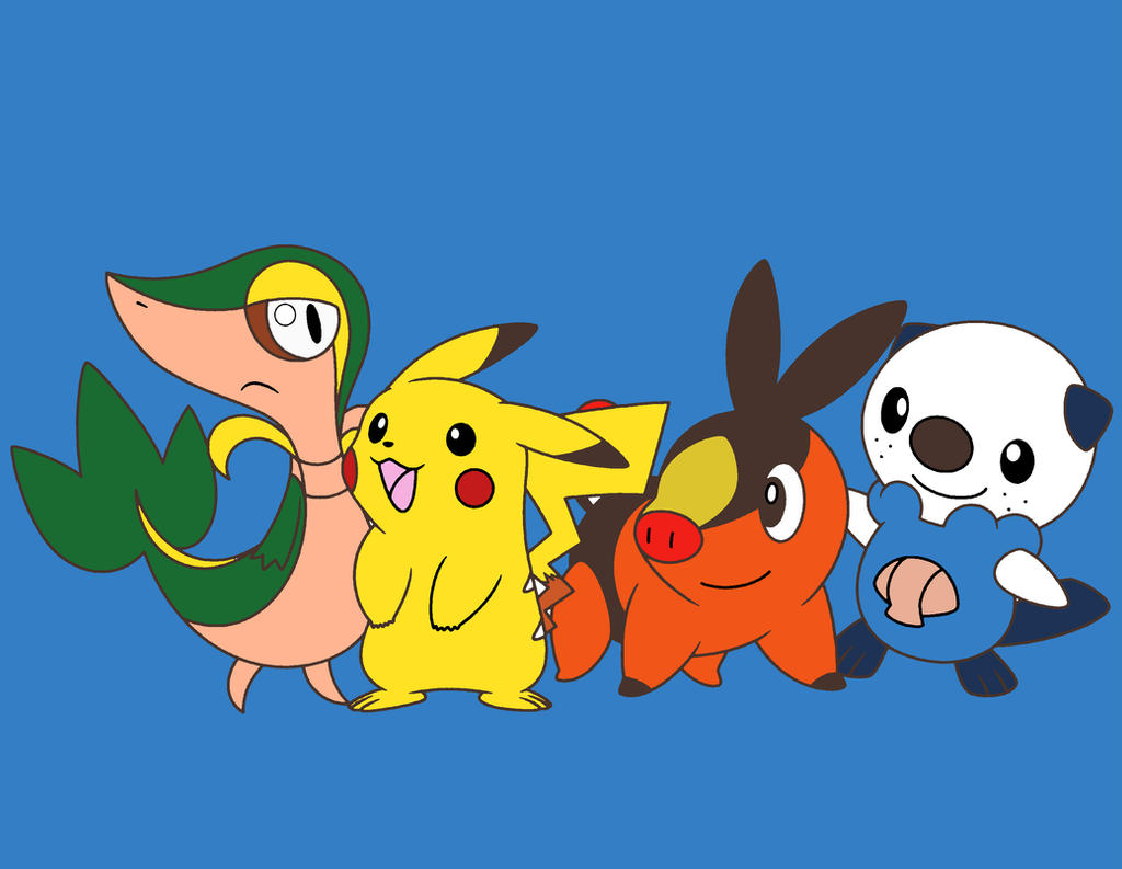 Snivy pikachu tepig and oshawott coloring page by jwgirl for Snivy coloring pages
