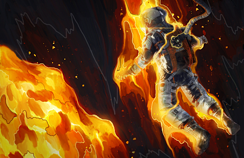 Astronaut On Fire by maagg