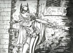 Batgirl against the wall