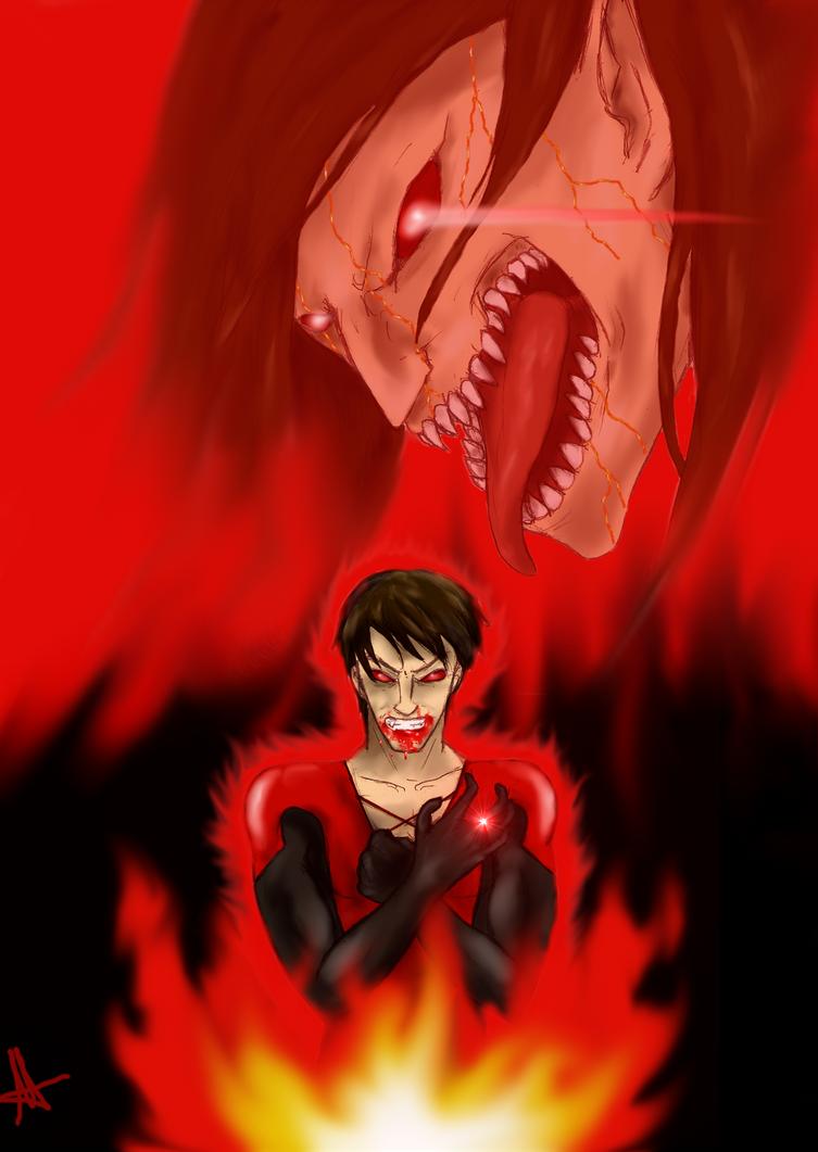Red Lantern Eren by Angelia-Dark