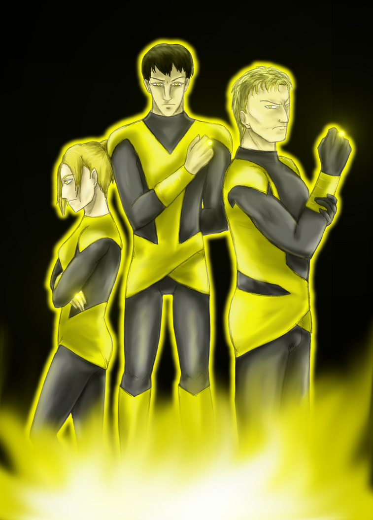 Yellow Lanterns Annie, Bertolt, and Reiner by Angelia-Dark