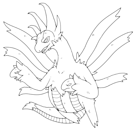 hydreigon lineart by nastyjungle on DeviantArt