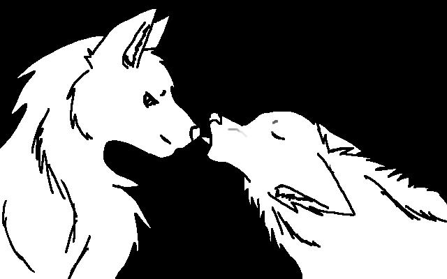 Wolf Lineart : Wolf couple line art by screamingfox on deviantart