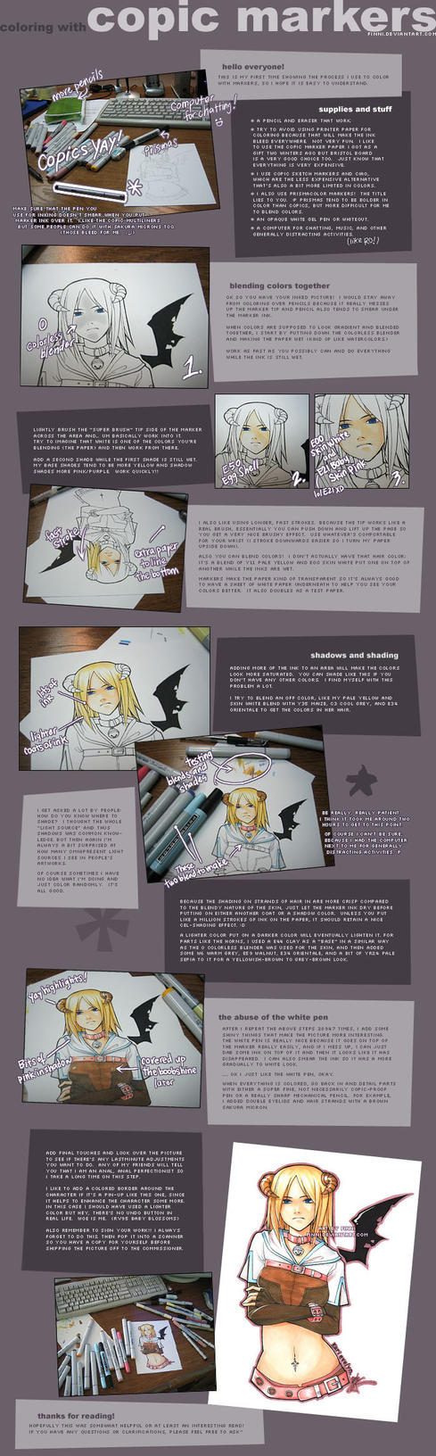 Copic Marker Tutorial by finni