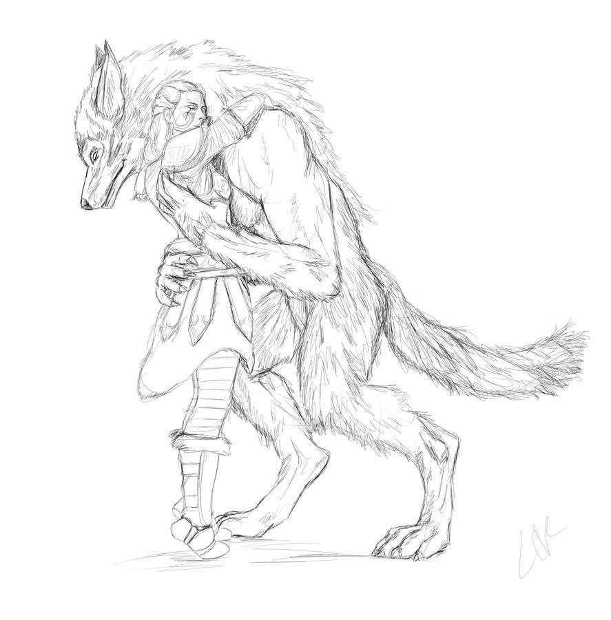 Skyrim sketches 2 wolf hug by lucife56
