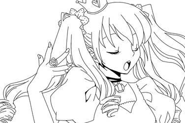 Miku Hatsune Lineart by TrollinDinos