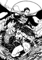 Justice League #14 Cover Inks by SupermanOfToday
