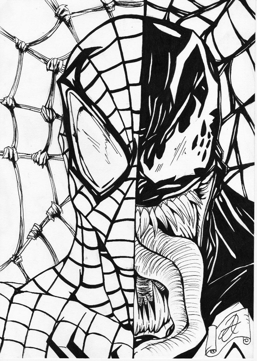 Spiderman venom b w by darkartistdomain on deviantart for Spiderman 3 coloring pages