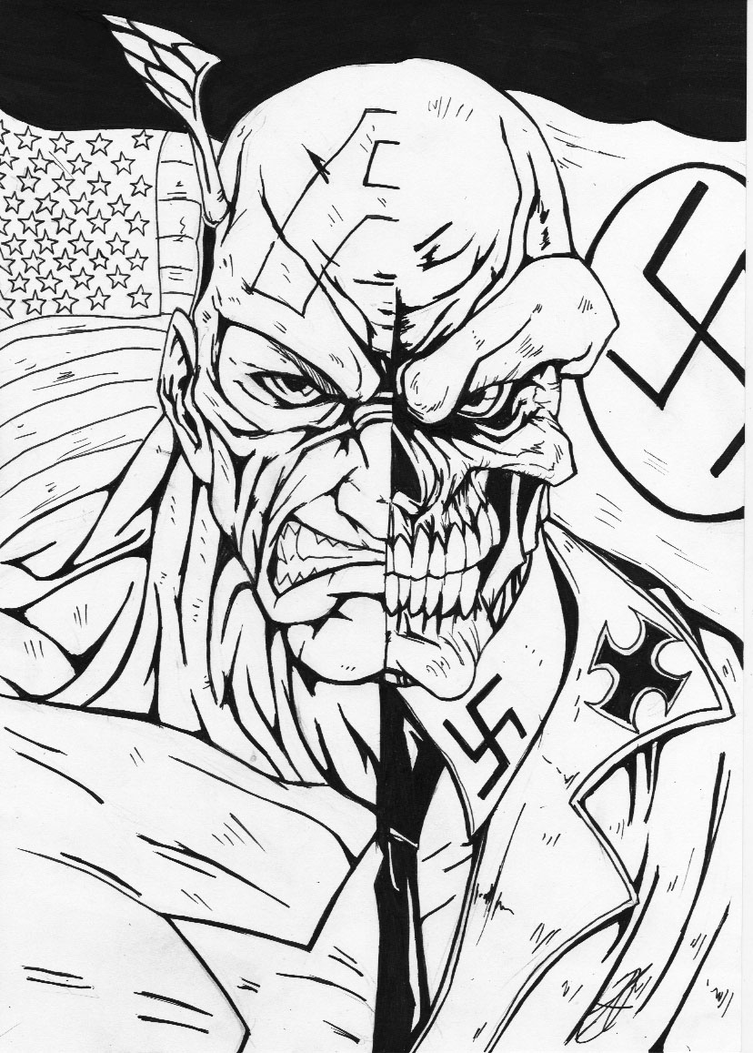 darkartistdomain captain america red skull bw by darkartistdomain