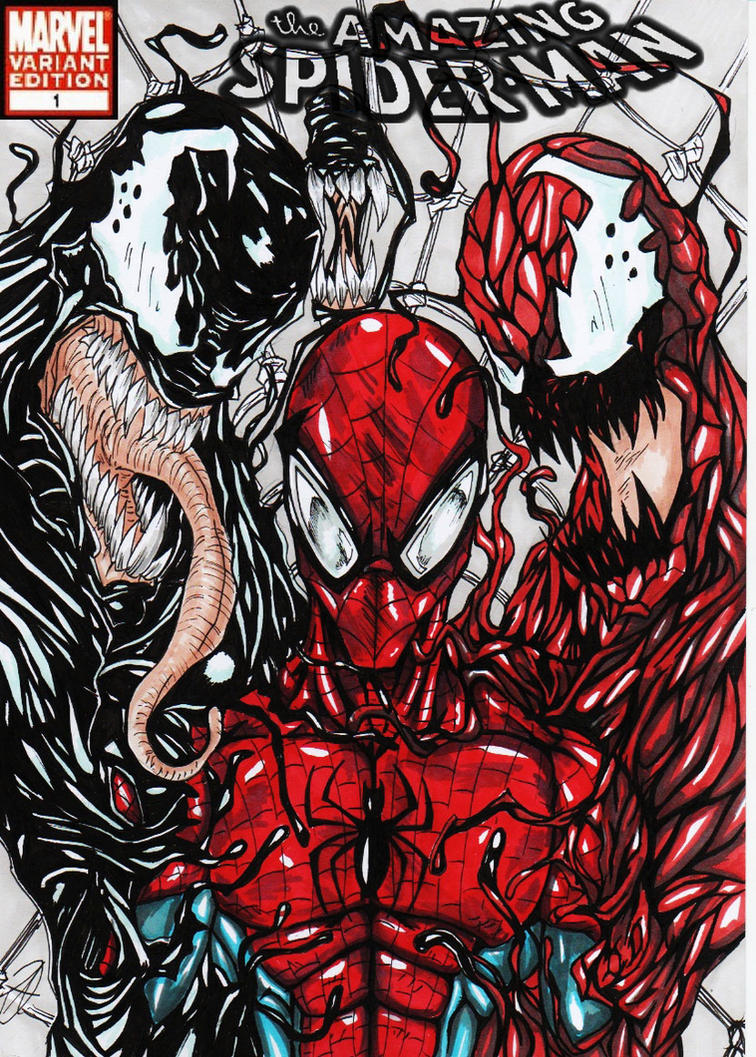Comic Book Cover Drawing : Spiderman comic cover updated by darkartistdomain on