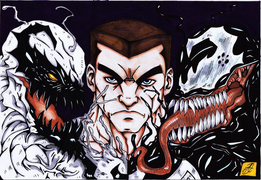 anti-venom venom orignal art colour by darkartistdomain
