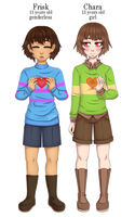 [UNDERTALE] Frisk and Chara by YunemaDraw