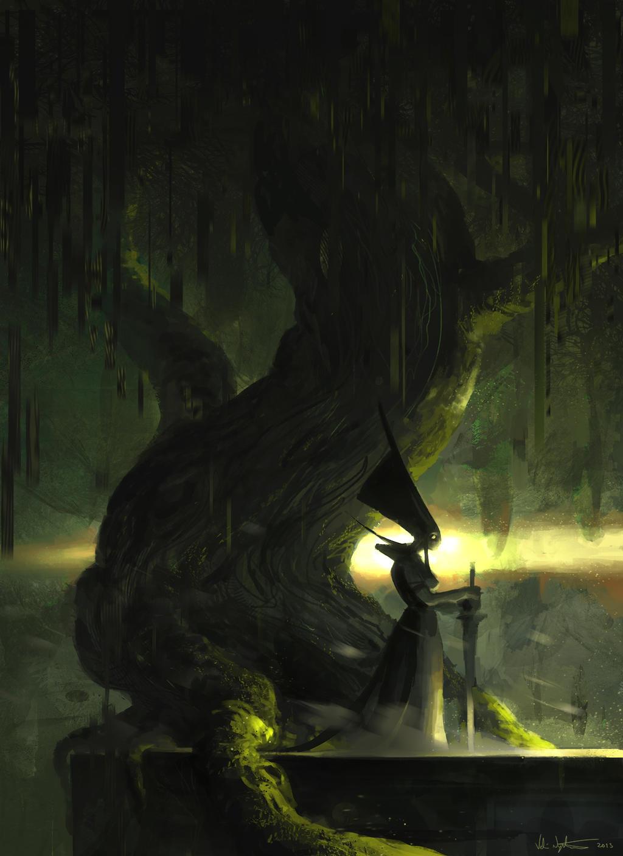Tree and Priestess by Vablo
