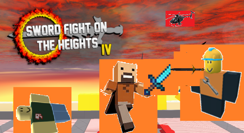 Builderman And Notch Fighting In The Heights By - how to make a sword fighting game on roblox 2016