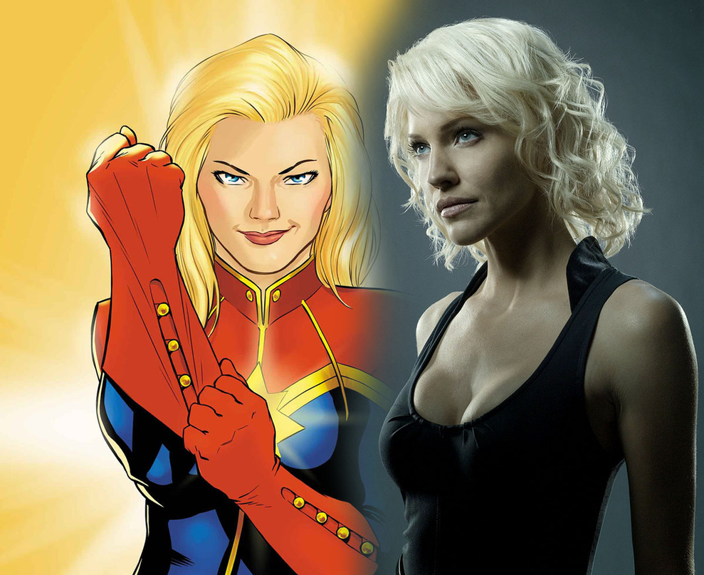 Tricia Helfer as Captain Marvel by Hellraiser-89