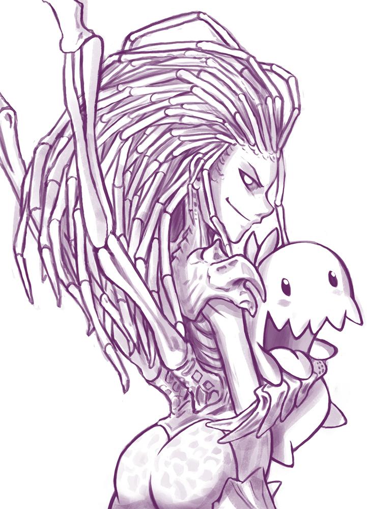 Starcraft 2: Kerrigan and Zergling by Tamura