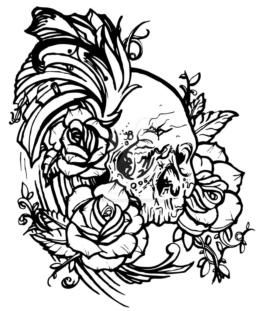 Skull.rose tattoo by lucasalexander on DeviantArt