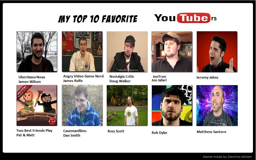 My Top 10 Favorite Youtubers by DementedRaccoonus on DeviantArt Uberhaxornova Fan Art