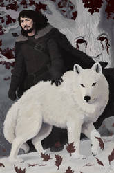 Jon Snow and Ghost by GarrettPack
