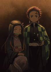 Nezuko and Tanjiro Formal Portrait