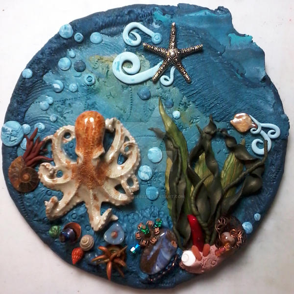 'Octopus Dance' Polymer Clay Wall Hanging by wildhorse63