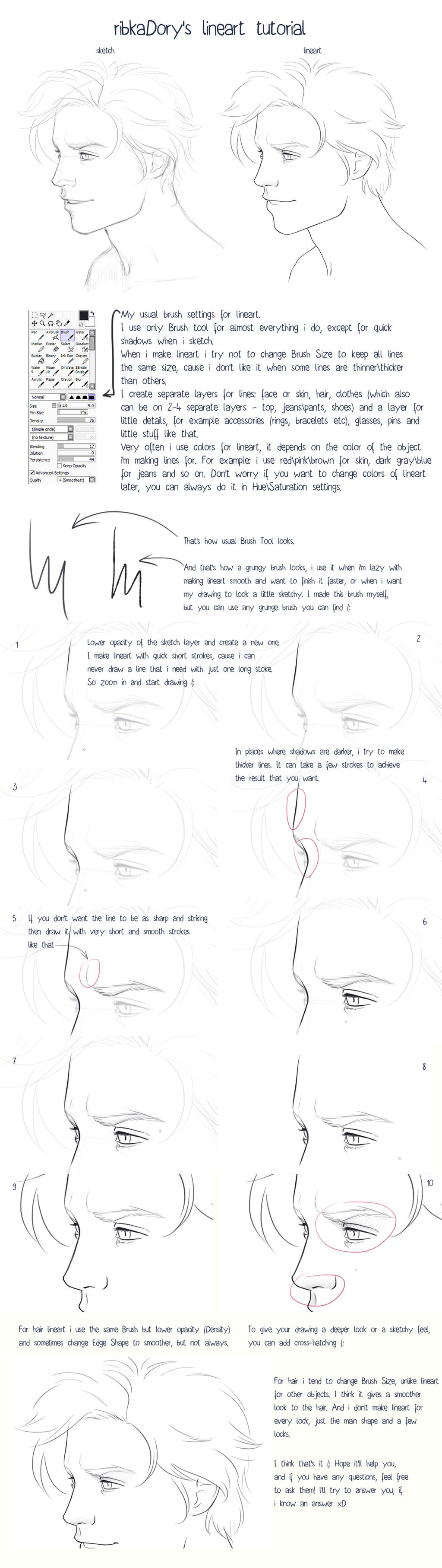 Lineart Tutorial by ribkaDory