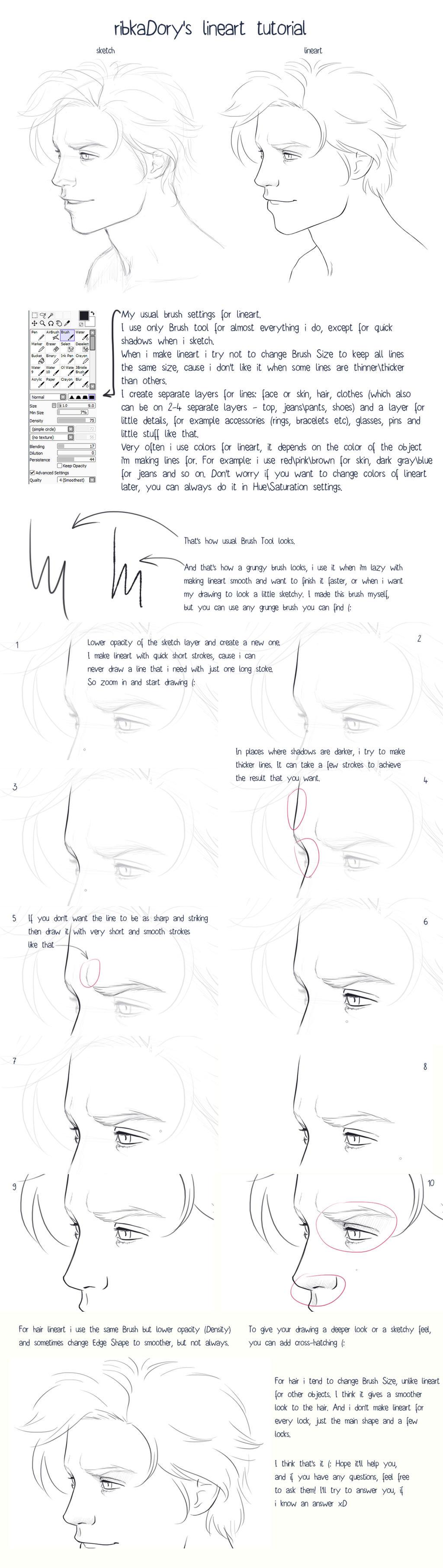 Lineart Tutorial by ribkaDory