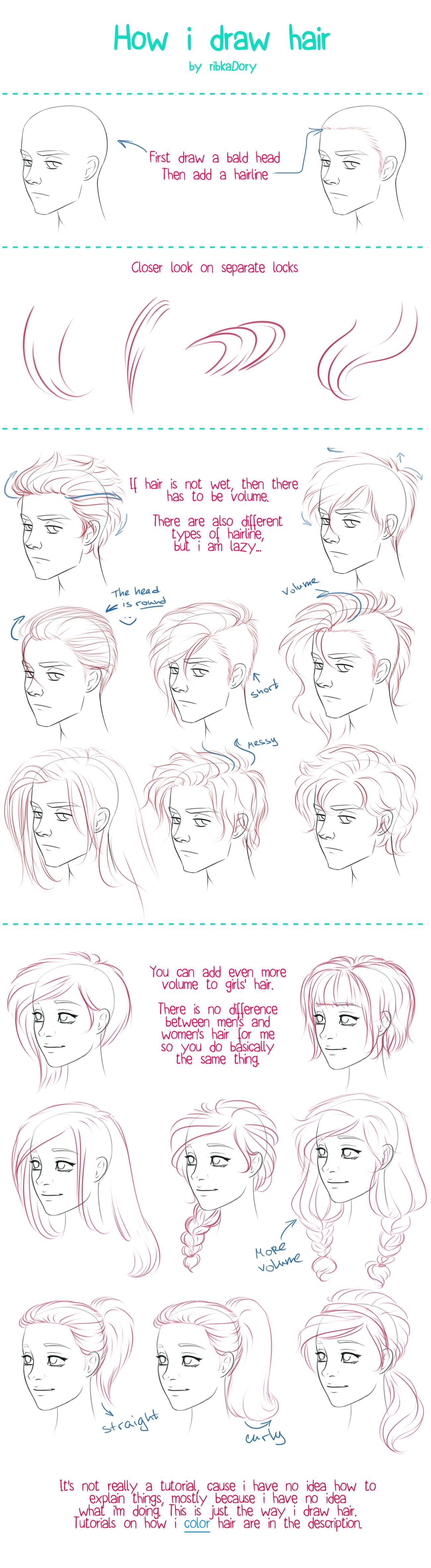 How I Draw Hair by ribkaDory