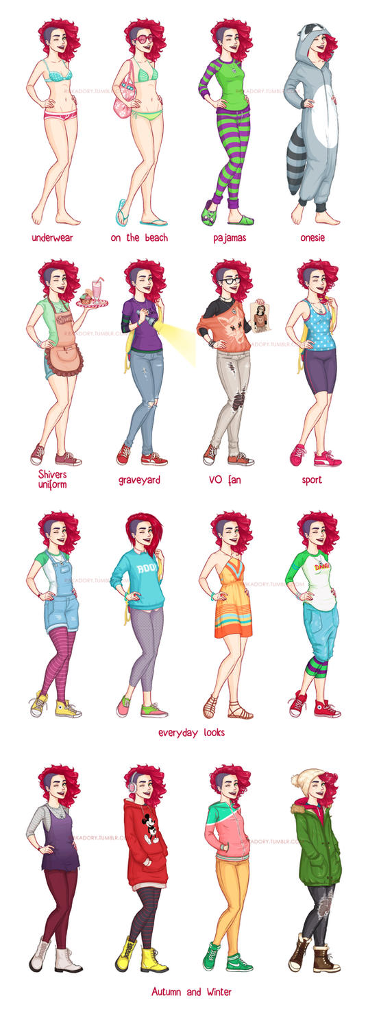 Amy's Outfits Chart by ribkaDory
