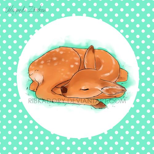 Sleeping Deer by ribkaDory