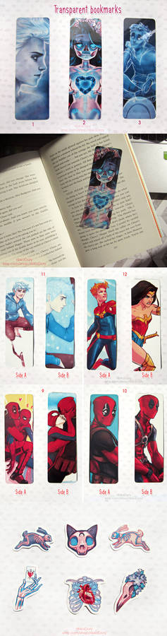 Transparent bookmarks and stickers