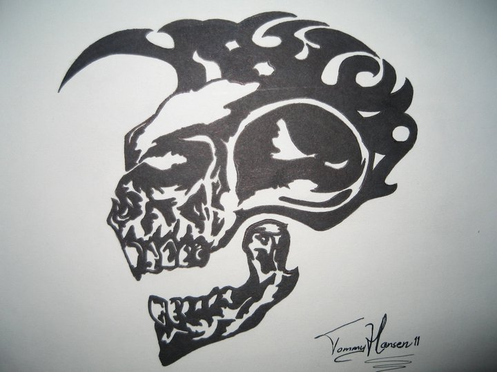 Mohawk skull, made for a friend.. ink drawing by stukyluke ...