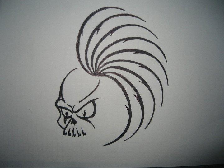 Mohawk skull,made for a friend. ink drawing by stukyluke ...