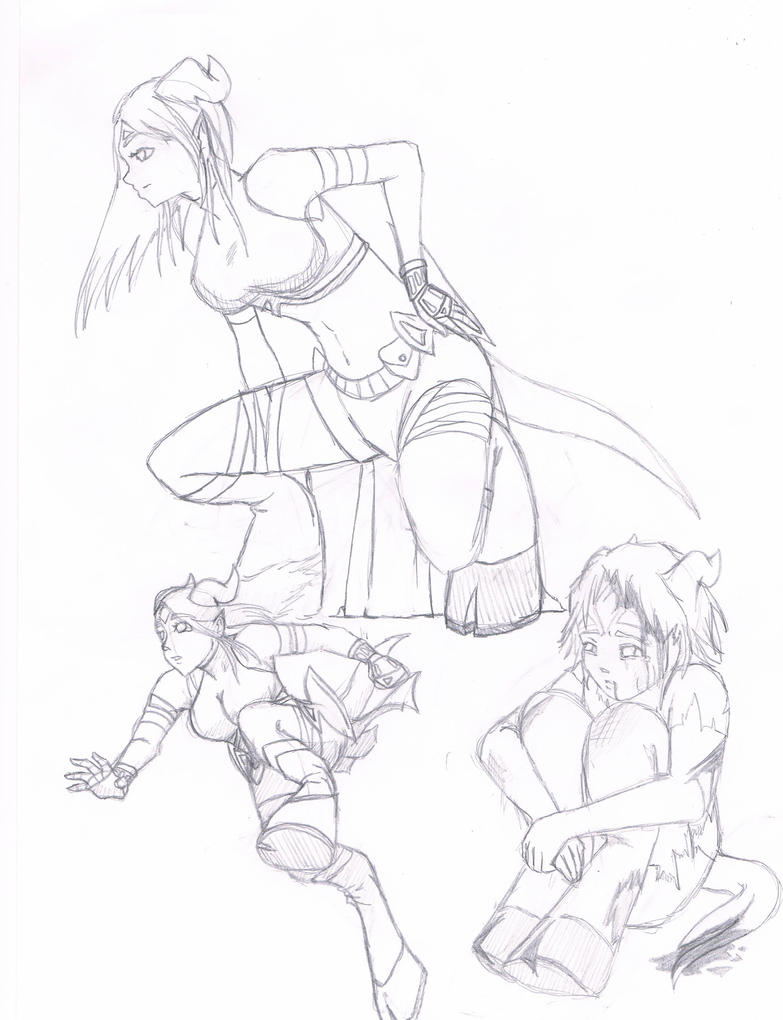 Sketches - Draenei Female Poses by SilverioSabrina on DeviantArt