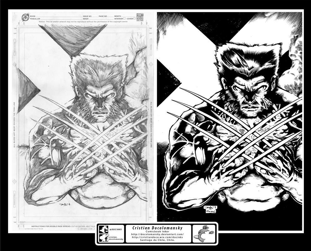 pin up Wolverine Brian Balondo inks by Docolomansky