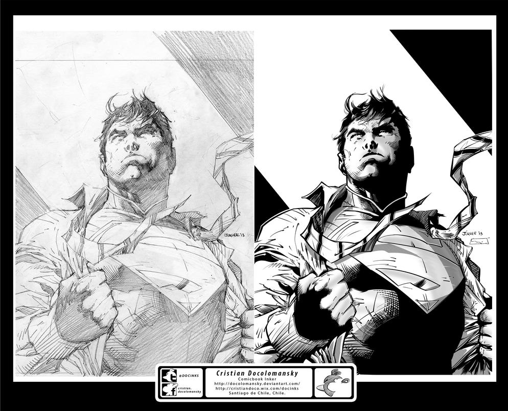 Ink Test - Jim Lee Superman - Inks by Docolomansky