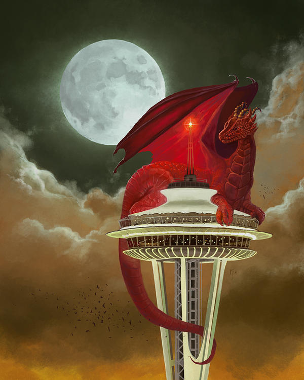 Dragon Of The Space Needle by rflaum