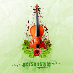 Floral Violin by GersonDesign
