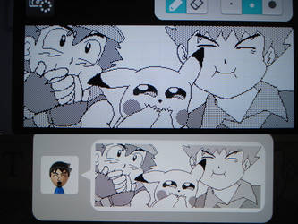 Miiverse - Ash, Brock, and Pikachu Chortles by MAST3RLINKX
