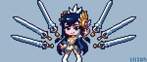 Divine Sword Irelia Pixel Art [+Timelapse] by LilMissSunBear