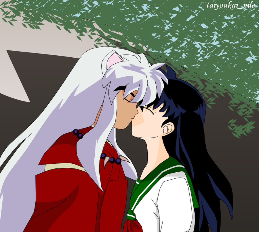 InuYasha and Kagome - A Kiss by blondishnet on DeviantArt
