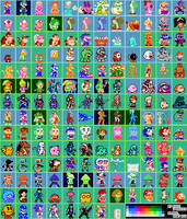 Super Mario Maker - 8-Bit Character Costumes 32x32 by RidgeTroopa
