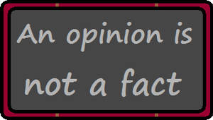 An Opinion Is Not A Fact