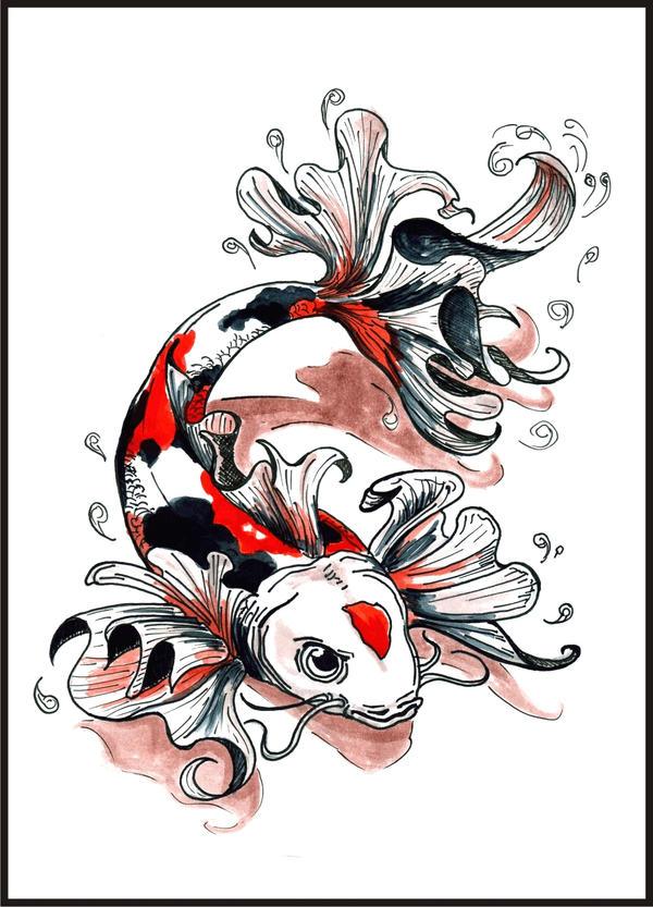 Commission - Koi tattoo colour by Yuki-Myst