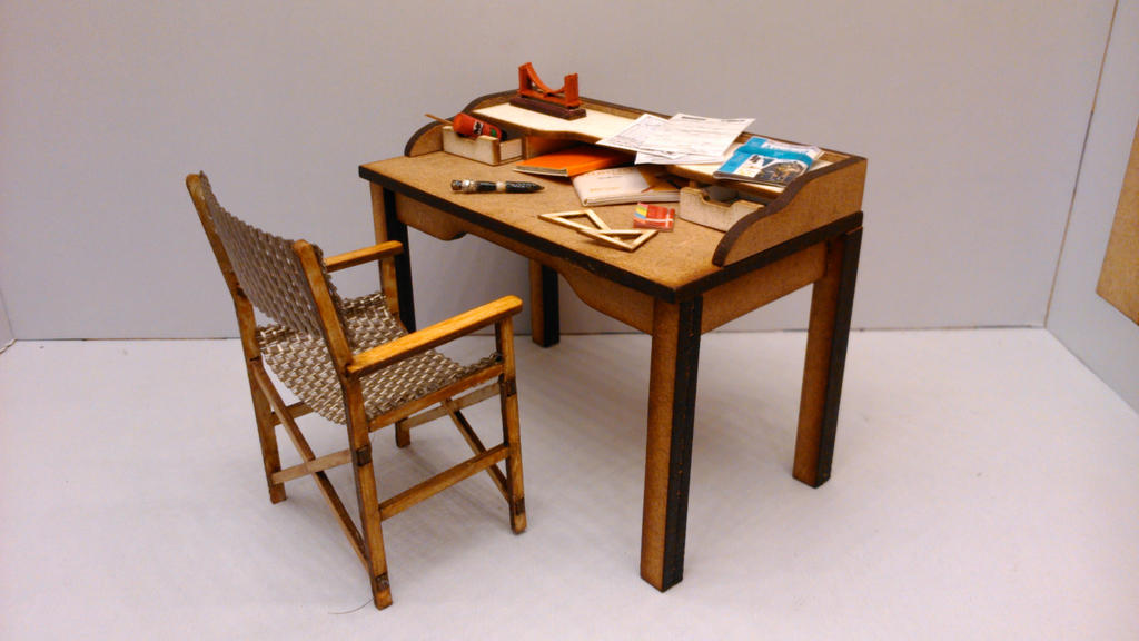 Modern midcentury miniature desk with two drawers by Yuki-Myst